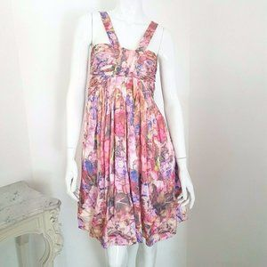 100% Silk Floral  Baby Doll Dress
